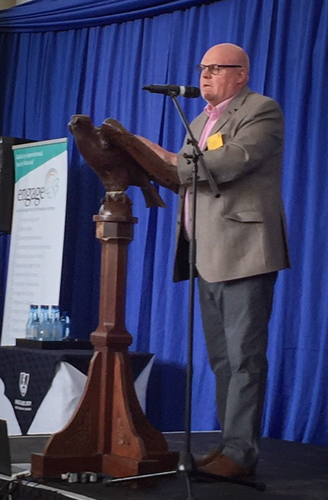 Peter addresses the Proudly Primary conference 2019